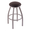 "802 Misha 30"" Bar Stool with Anodized Nickel Finish, Allante Espresso Seat, and 360 swivel"