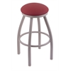 "802 Misha 30"" Bar Stool with Anodized Nickel Finish, Allante Wine Seat, and 360 swivel"