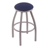 "802 Misha 30"" Bar Stool with Anodized Nickel Finish, Axis Denim Seat, and 360 swivel"