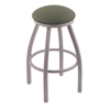 "802 Misha 30"" Bar Stool with Anodized Nickel Finish, Axis Grove Seat, and 360 swivel"
