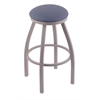 "802 Misha 30"" Bar Stool with Anodized Nickel Finish, Rein Bay Seat, and 360 swivel"