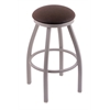 "802 Misha 36"" Bar Stool with Anodized Nickel Finish, Rein Coffee Seat, and 360 swivel"