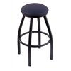 "802 Misha 30"" Bar Stool with Black Wrinkle Finish, Allante Dark Blue Seat, and 360 swivel"