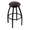 "802 Misha 30"" Bar Stool with Black Wrinkle Finish, Allante Espresso Seat, and 360 swivel"