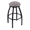 "802 Misha 30"" Bar Stool with Black Wrinkle Finish, Allante Medium Grey Seat, and 360 swivel"