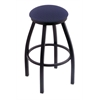 "Holland Bar Stool Co. 802 Misha 30"" Bar Stool with Black Wrinkle Finish, Axis Denim Seat, and 360 swivel"