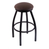 "802 Misha 30"" Bar Stool with Black Wrinkle Finish, Rein Coffee Seat, and 360 swivel"
