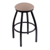 "802 Misha 30"" Bar Stool with Black Wrinkle Finish, Rein Thatch Seat, and 360 swivel"