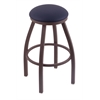 "802 Misha 30"" Bar Stool with Bronze Finish, Allante Dark Blue Seat, and 360 swivel"