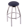 "802 Misha 36"" Bar Stool with Chrome Finish, Allante Dark Blue Seat, and 360 swivel"