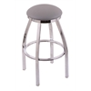 "Holland Bar Stool Co. 802 Misha 25"" Counter Stool with Chrome Finish, Allante Medium Grey Seat, and 360 swivel"