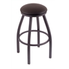 "802 Misha 30"" Bar Stool with Pewter Finish, Allante Espresso Seat, and 360 swivel"