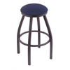 "802 Misha 30"" Bar Stool with Pewter Finish, Axis Denim Seat, and 360 swivel"