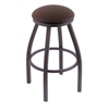 "802 Misha 36"" Bar Stool with Pewter Finish, Rein Coffee Seat, and 360 swivel"