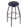 "802 Misha 36"" Bar Stool with Stainless Finish, Allante Dark Blue Seat, and 360 swivel"