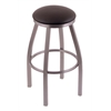 "802 Misha 30"" Bar Stool with Stainless Finish, Allante Espresso Seat, and 360 swivel"