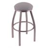 "802 Misha 30"" Bar Stool with Stainless Finish, Allante Medium Grey Seat, and 360 swivel"