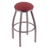 "802 Misha 36"" Bar Stool with Stainless Finish, Allante Wine Seat, and 360 swivel"