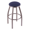 "802 Misha 30"" Bar Stool with Stainless Finish, Axis Denim Seat, and 360 swivel"