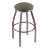 "802 Misha 30"" Bar Stool with Stainless Finish, Axis Grove Seat, and 360 swivel"