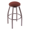 "802 Misha 36"" Bar Stool with Stainless Finish, Axis Paprika Seat, and 360 swivel"