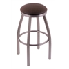 "802 Misha 36"" Bar Stool with Stainless Finish, Rein Coffee Seat, and 360 swivel"