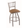 "810 Contessa 30"" Bar Stool with Anodized Nickel Finish, Allante Beechwood Seat, and 360 swivel"