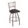 "810 Contessa 30"" Bar Stool with Anodized Nickel Finish, Allante Dark Blue Seat, and 360 swivel"