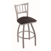 "810 Contessa 25"" Counter Stool with Anodized Nickel Finish, Allante Espresso Seat, and 360 swivel"