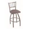 "Holland Bar Stool Co. 810 Contessa 30"" Bar Stool with Anodized Nickel Finish, Allante Medium Grey Seat, and 360 swivel"