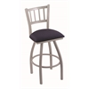 "810 Contessa 30"" Bar Stool with Anodized Nickel Finish, Axis Denim Seat, and 360 swivel"