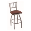 "Holland Bar Stool Co. 810 Contessa 30"" Bar Stool with Anodized Nickel Finish, Axis Paprika Seat, and 360 swivel"