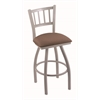 "810 Contessa 30"" Bar Stool with Anodized Nickel Finish, Axis Willow Seat, and 360 swivel"