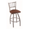 "810 Contessa 36"" Bar Stool with Anodized Nickel Finish, Rein Adobe Seat, and 360 swivel"