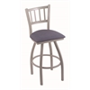 "810 Contessa 30"" Bar Stool with Anodized Nickel Finish, Rein Bay Seat, and 360 swivel"