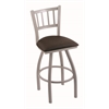 "810 Contessa 36"" Bar Stool with Anodized Nickel Finish, Rein Coffee Seat, and 360 swivel"