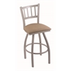 "810 Contessa 30"" Bar Stool with Anodized Nickel Finish, Rein Thatch Seat, and 360 swivel"