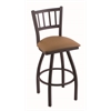 "Holland Bar Stool Co. 810 Contessa 30"" Bar Stool with Black Wrinkle Finish, Allante Beechwood Seat, and 360 swivel"