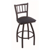 "Holland Bar Stool Co. 810 Contessa 30"" Bar Stool with Black Wrinkle Finish, Allante Dark Blue Seat, and 360 swivel"