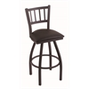 "810 Contessa 30"" Bar Stool with Black Wrinkle Finish, Allante Espresso Seat, and 360 swivel"