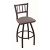 "Holland Bar Stool Co. 810 Contessa 30"" Bar Stool with Black Wrinkle Finish, Allante Medium Grey Seat, and 360 swivel"