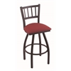 "Holland Bar Stool Co. 810 Contessa 30"" Bar Stool with Black Wrinkle Finish, Allante Wine Seat, and 360 swivel"
