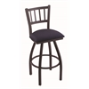 "Holland Bar Stool Co. 810 Contessa 30"" Bar Stool with Black Wrinkle Finish, Axis Denim Seat, and 360 swivel"