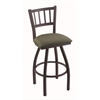 "810 Contessa 30"" Bar Stool with Black Wrinkle Finish, Axis Grove Seat, and 360 swivel"