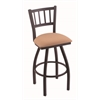 "810 Contessa 30"" Bar Stool with Black Wrinkle Finish, Axis Summer Seat, and 360 swivel"