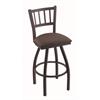 "Holland Bar Stool Co. 810 Contessa 30"" Bar Stool with Black Wrinkle Finish, Axis Truffle Seat, and 360 swivel"