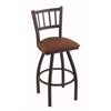 "810 Contessa 30"" Bar Stool with Black Wrinkle Finish, Rein Adobe Seat, and 360 swivel"