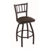 "810 Contessa 25"" Counter Stool with Black Wrinkle Finish, Rein Coffee Seat, and 360 swivel"