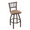 "Holland Bar Stool Co. 810 Contessa 30"" Bar Stool with Black Wrinkle Finish, Rein Thatch Seat, and 360 swivel"