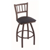 "Holland Bar Stool Co. 810 Contessa 30"" Bar Stool with Bronze Finish, Allante Dark Blue Seat, and 360 swivel"